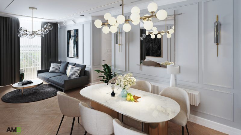 Thiết kế bàn ăn liền phòng khách