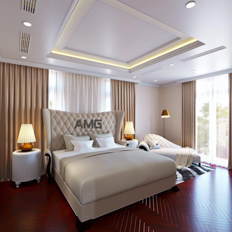 Thiết kế nội thất phòng ngủ cho biệt thự theo phong cách tân cổ điển