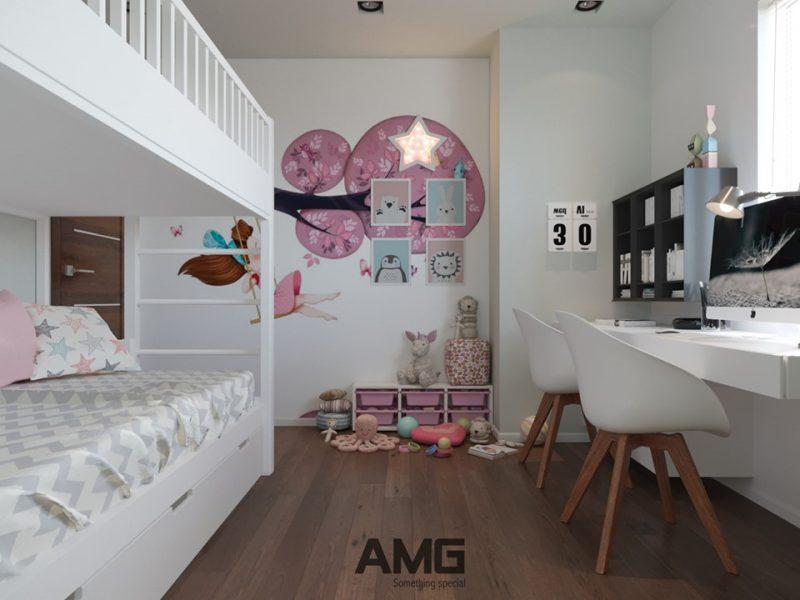Thiết kế phòng ngủ đôi cho bé gái