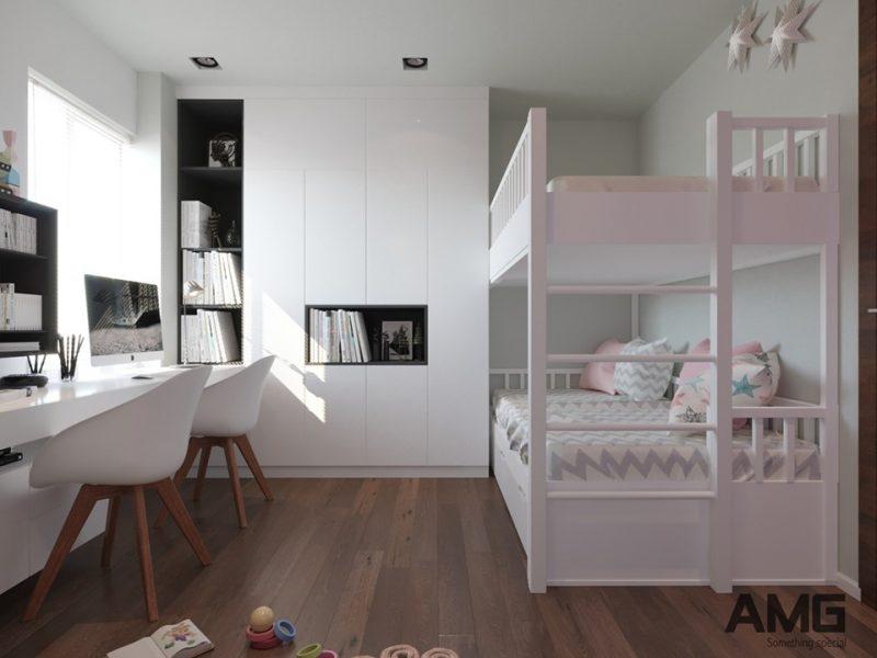 Thiết kế giường tầng cho bé, tủ quần áo, bàn học cho bé