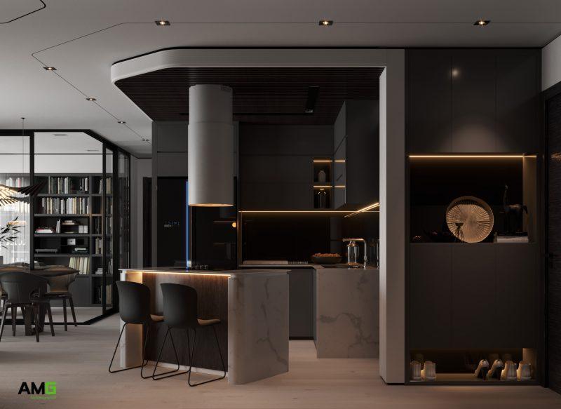Thiết kế nội thất phòng bếp đương đại