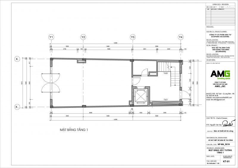 Mặt bằng thiết kế nội thất tầng 1 biệt thự