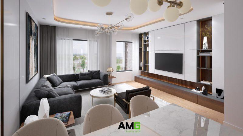 Thiết kế phòng khách sang trọng hiện đại tại biệt thự