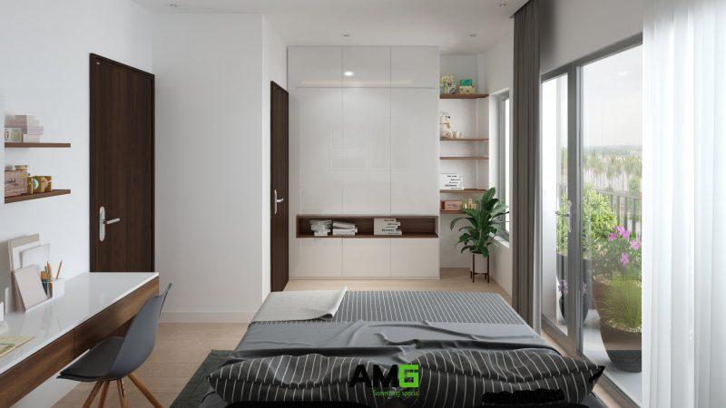 Thiết kế nội thất phòng ngủ cho bé có ban công