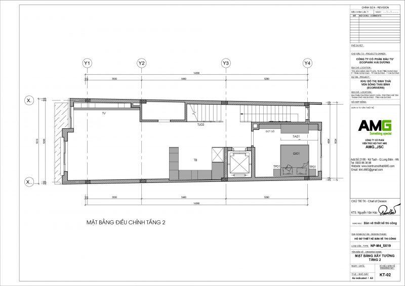 Mặt bằng thiết kế biệt thự tầng 2 tại Ecopark Hải Dương