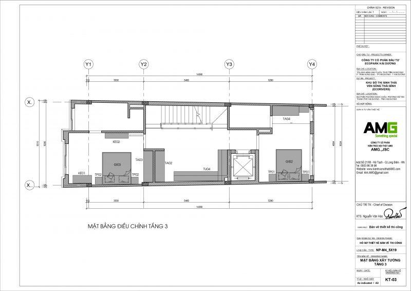 Mặt bằng thiết kế biệt thự tầng 3 tại Ecopark Hải Dương