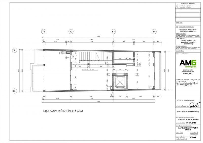 Mặt bằng thiết kế biệt thự tầng 4 tại Ecopark Hải Dương