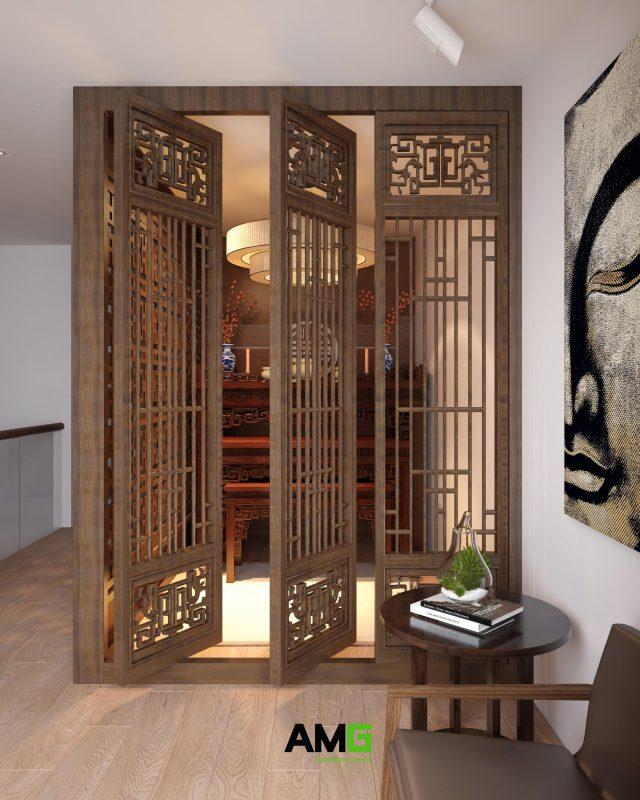 Thiết kế nội thất phòng thờ Ecorivers Ecopark Hải Dương
