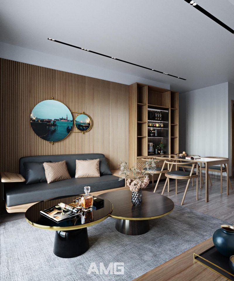 Thiết kế nội thất bàn ăn liền phòng khách