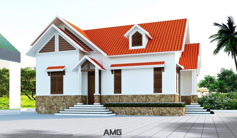 Mặt bằng và phối cảnh mẫu nhà biệt thự 1 tầng mái thái, 3 phòng ngủ