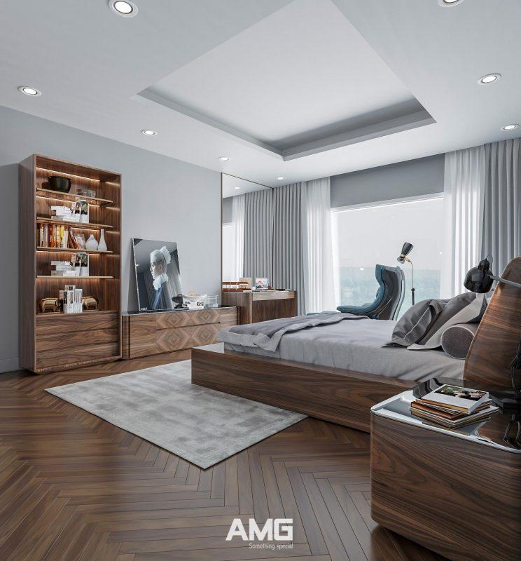 Thiết kế giường ngủ, tủ đồ, bàn phấn bằng gỗ óc chó tự nhiên