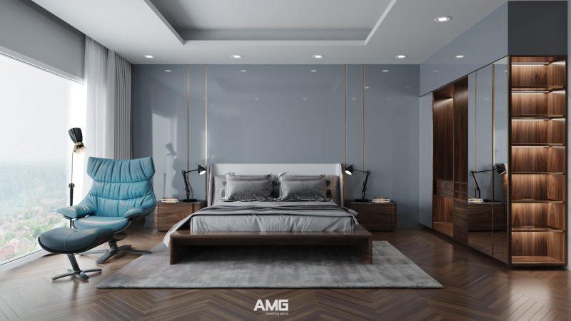 Nội thất phòng ngủ gỗ óc chó hiện đại