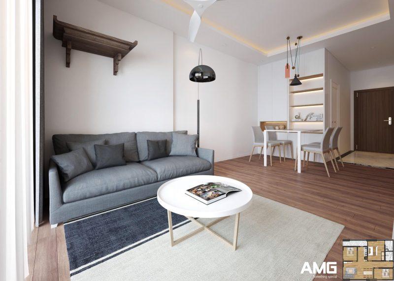 nội thất phòng khách chung cư x2 đại kim phong cách hiện đại