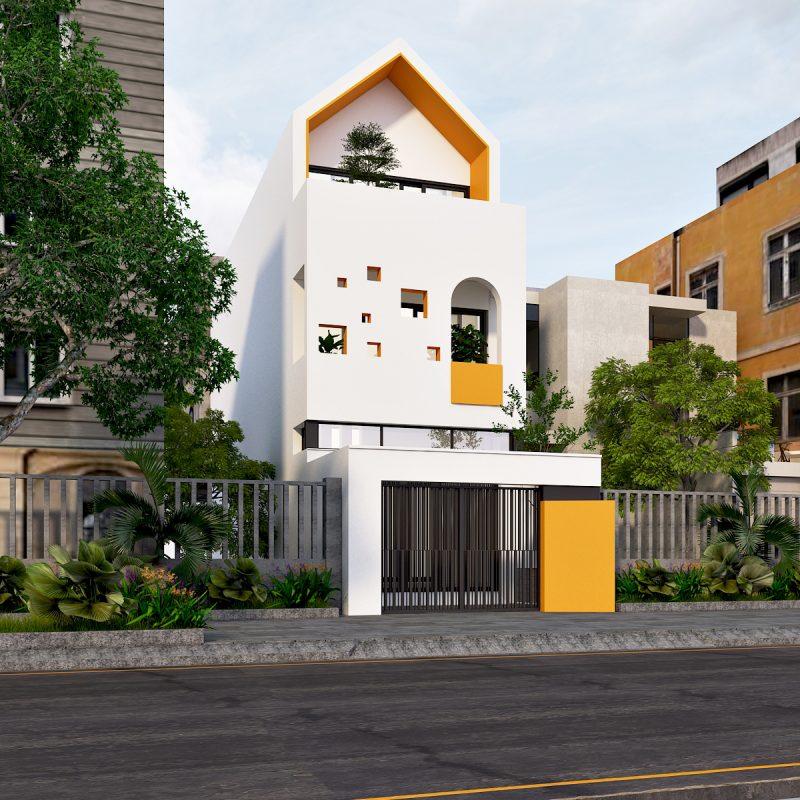 Kiến trúc nhà ống 3 tầng hiện đại - Thiết kế nhà ống tại Ninh Bình đẹp