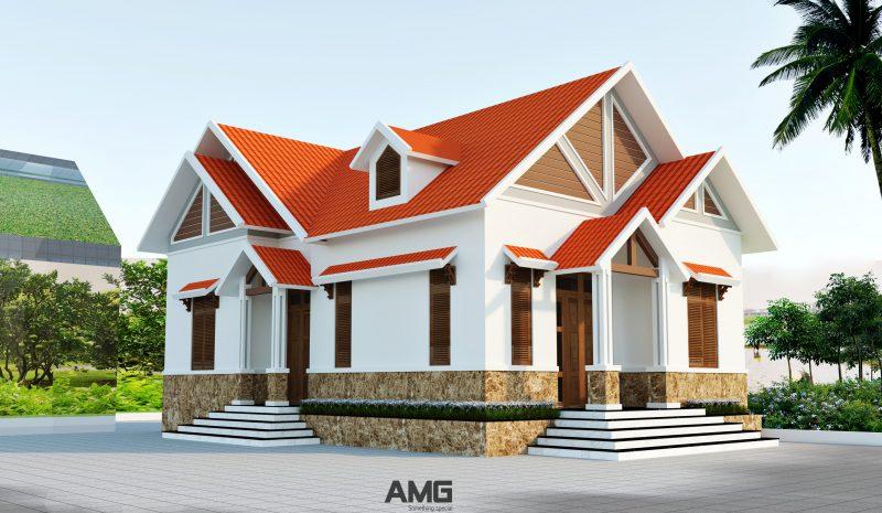 Thiết kế nhà biệt thự 1 tầng mái thái 3 phòng ngủ