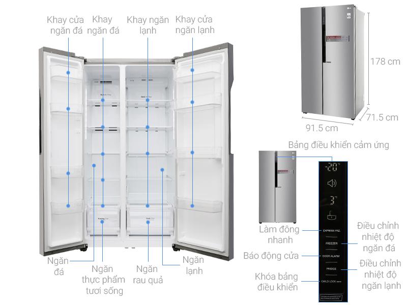 kích thước tủ lạnh side by side 2 cánh LG