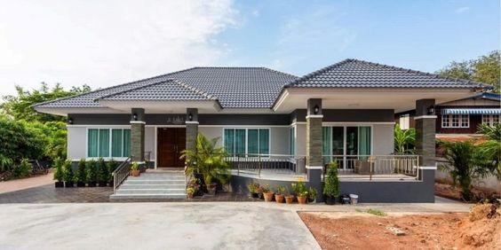 Kiến trúc nhà biệt thự 1 tầng Ninh Bình đẹp, biệt thự 1 tầng mái thái