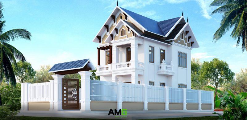 Thiết kế nhà tân cổ điển mái thái 2 tầng