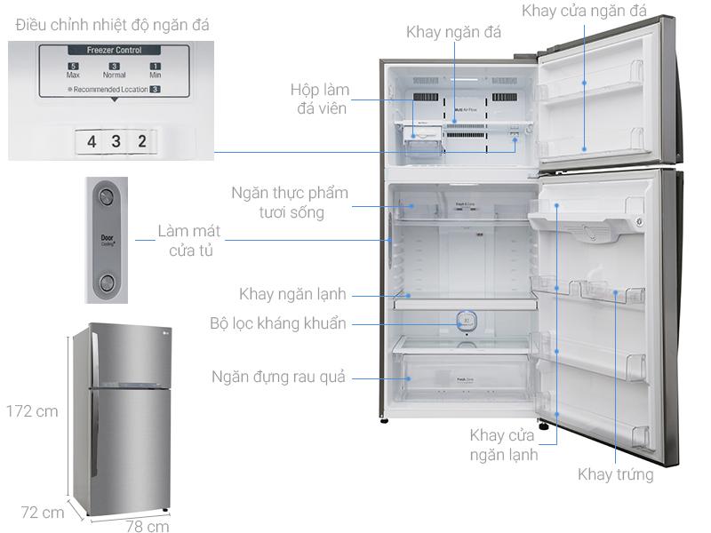 kích thước tủ lạnh 1 cánh hãng lg