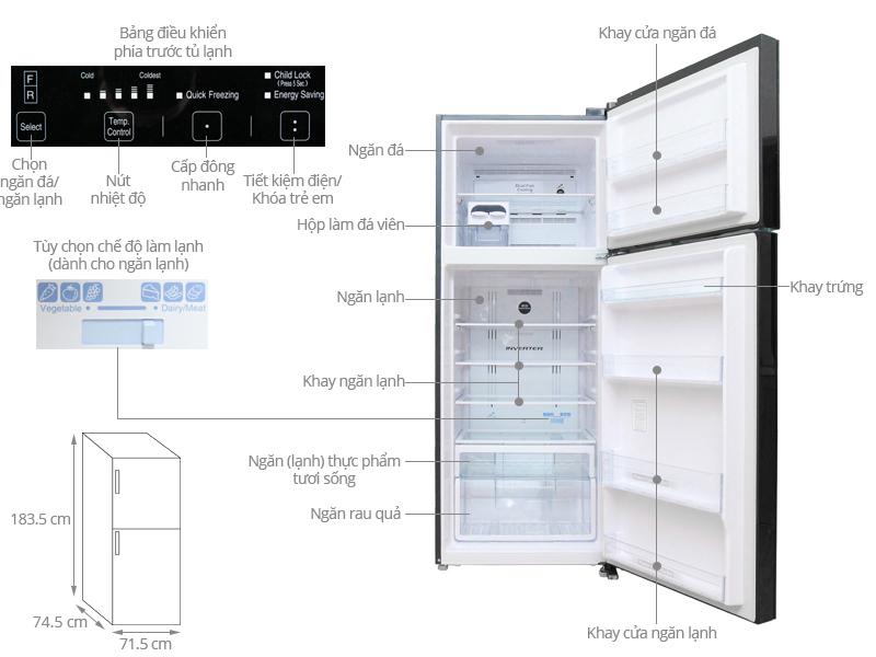 tủ lạnh 1 cánh hitachi 450 lít