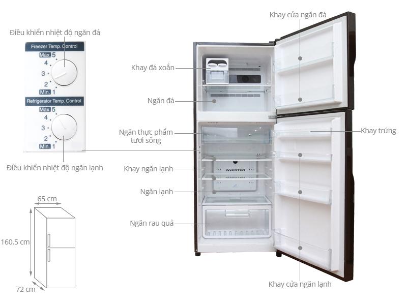 kich thước tủ lạnh 1 cánh hitachi