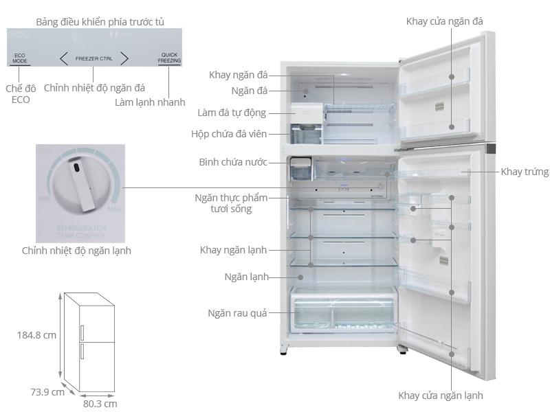 toshiba tủ lạnh 1 cánh 600 litt