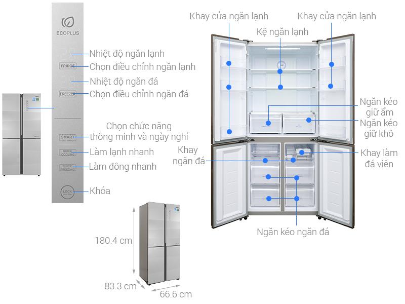 tủ lạnh side by side hãng aqua 516 lít