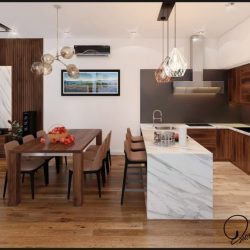 Thiết kế nội thất khu bếp ăn nhà ống hiện đại