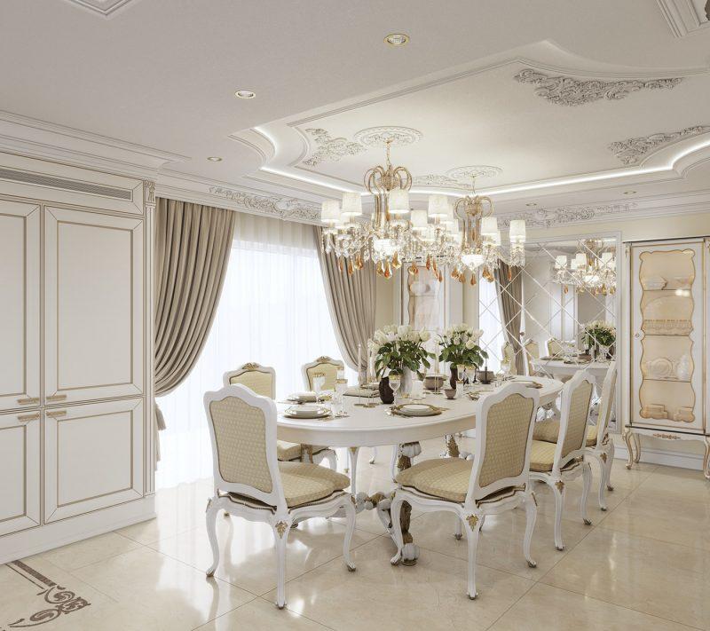 Thiết kế bàn ăn cổ điển