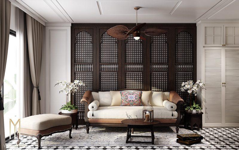Thiết kế phòng khách phong cách Đông Dương