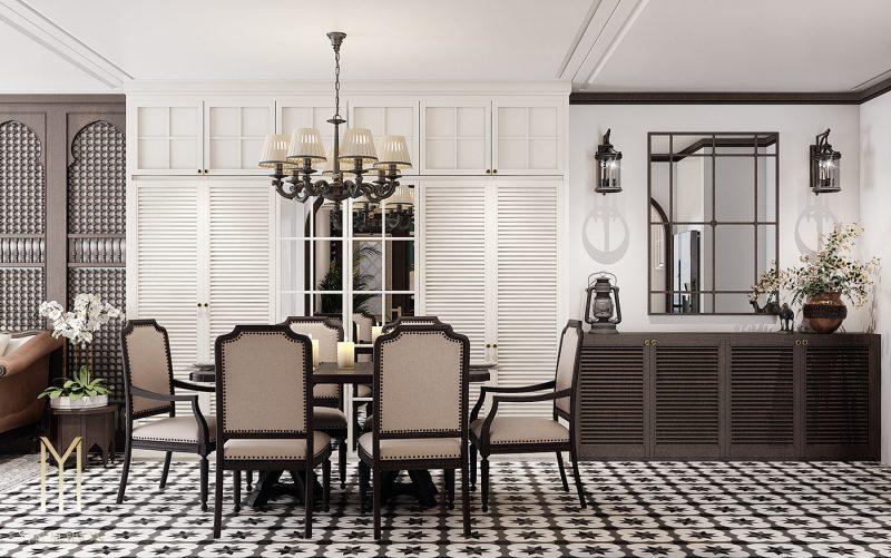 Thiết kế nội thất phòng ăn Indochine
